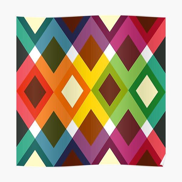 Geometric Pattern 19 (coloful diamonds) Poster