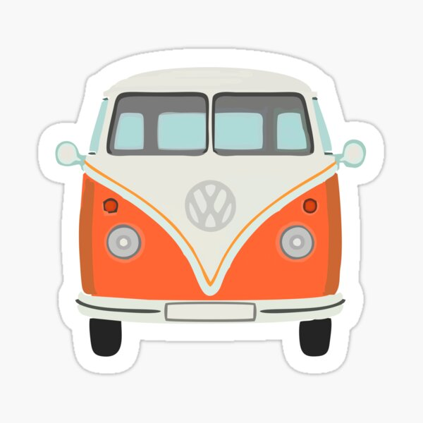 Orange Camper Van Sticker