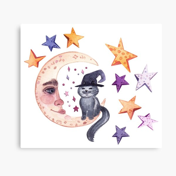 Witch cat and moon. Bright Halloween print. Canvas Print