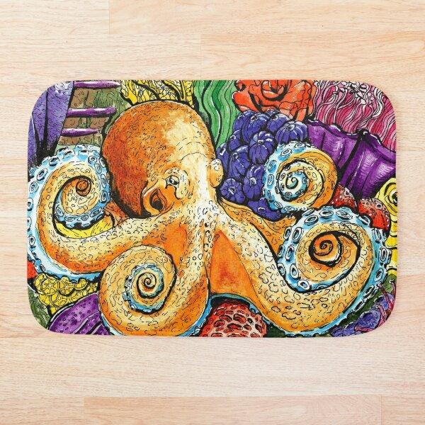 Happy Orange Octopus on Coral  Bath Mat