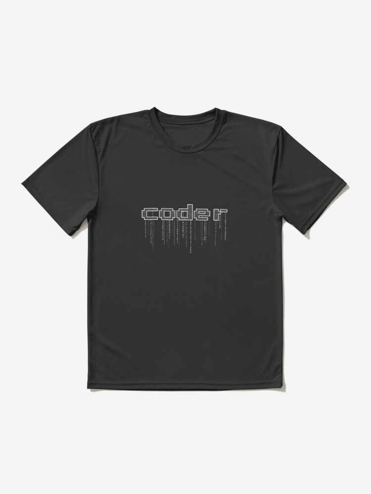 Alternate view of coder with binary numbers Active T-Shirt