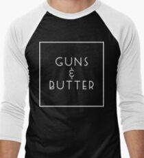 Guns and Butter (Guns or Butter Parody) White Ink Men's Baseball ¾ T-Shirt