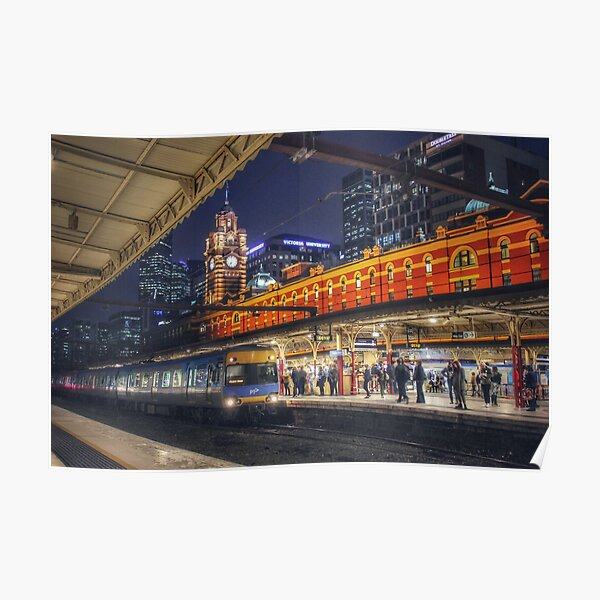 Flinders Street Station at night  Poster