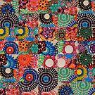 Tiled Dark Multicoloured Spirograph Design by RachelEDesigns
