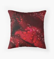 red rose and water drops Throw Pillow