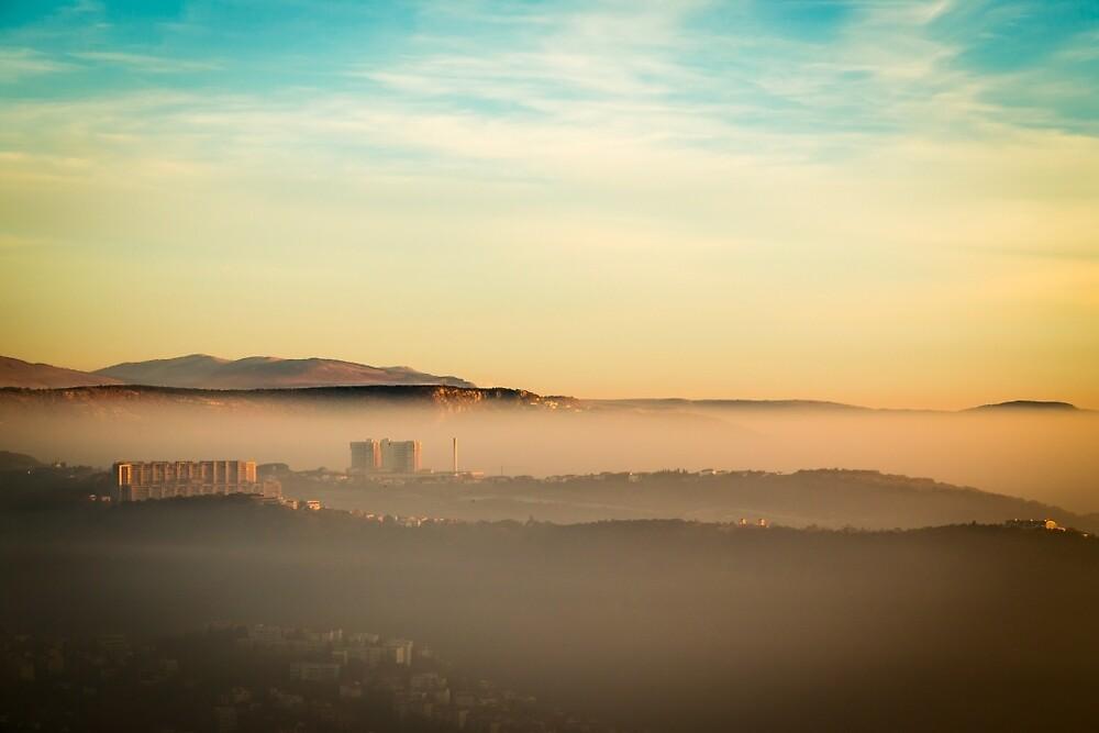 foggy sunset in the bay of Trieste by zakaz86