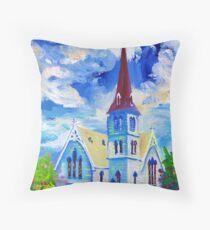 White Church Blue Sky Oil Painting Wall Art by Ekaterina Chernova Throw Pillow