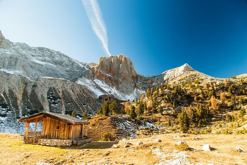 Alpine hut with a bench by zakaz86