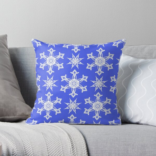 Seamless pattern of snowflakes Throw Pillow