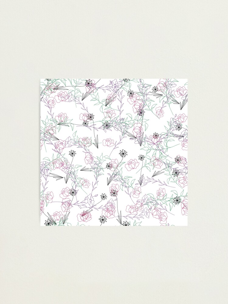 Alternate view of Line Art Floral Pattern Photographic Print