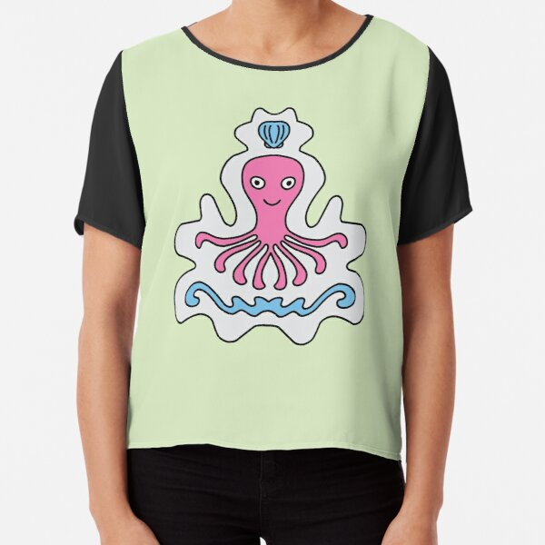 Cute Cartoon Octopus with shell, sea creature - Pink and Blue in green background Chiffon Top