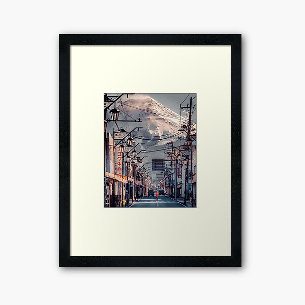 Beautiful Mt. Fuji street - Japan landscape Framed Art Print