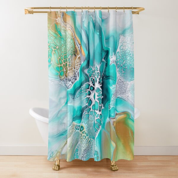 Green Lagoon Inspired Fluid Pour Art Painting with Gold and Grey Shower Curtain