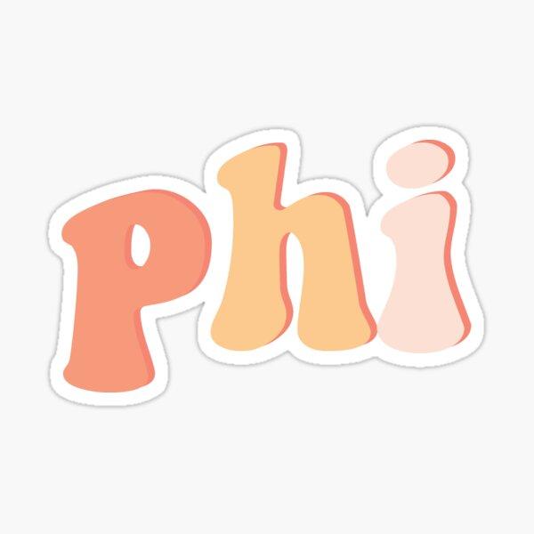Retro Peach Pink Phi Greek Letter Sticker Sticker