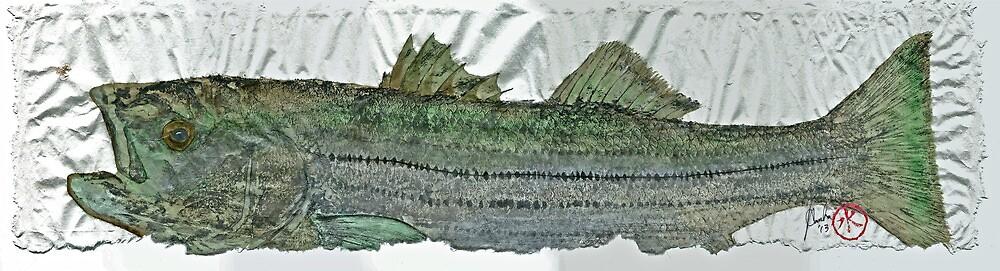 Gyotaku - Striped Bass - Rock Fish - Striper by IslandFishPrint