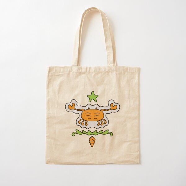 Cute Cartoon crab with star and conch, sea creature - Orange and Green in blue background Cotton Tote Bag