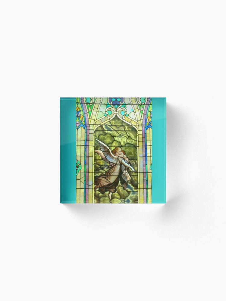 Alternate view of New Harmony-Stained Glass-Madonna & Child-Angel & Baby-St. Stephen's Church Acrylic Block