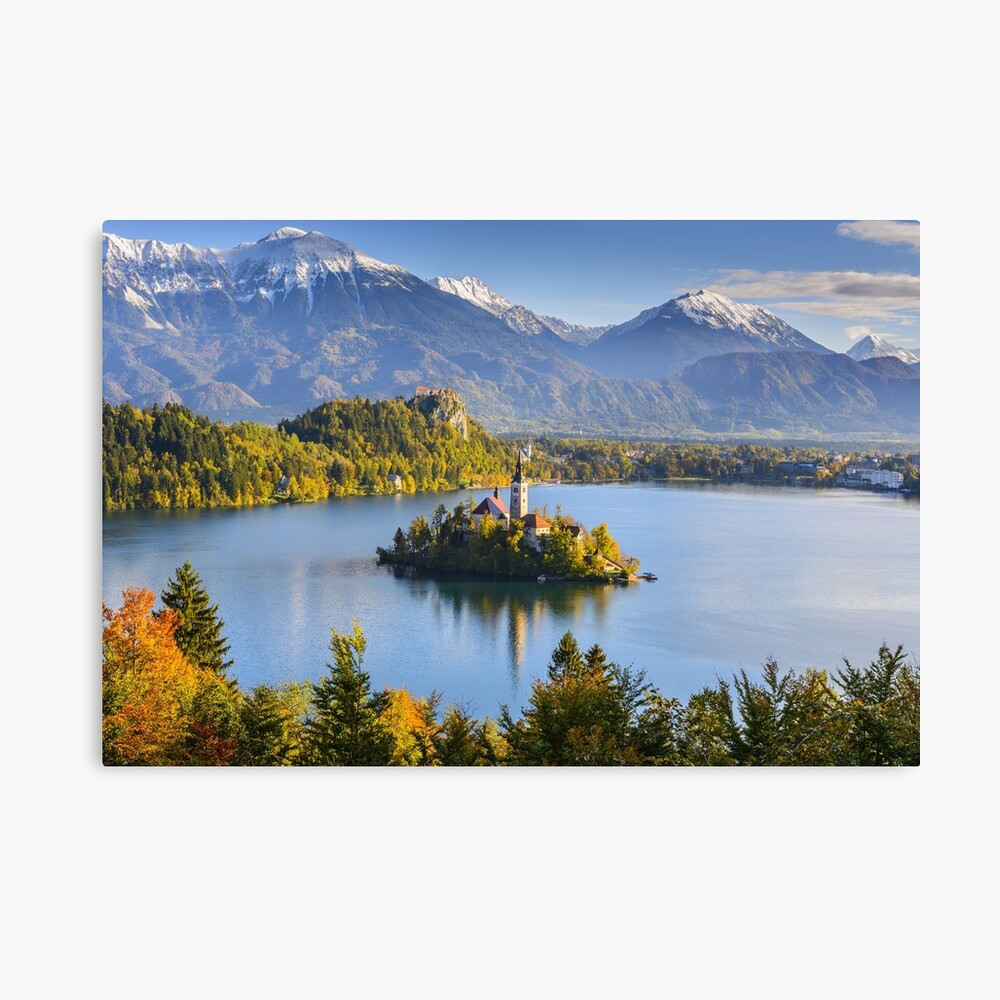 Lake Bled In Slovenia In Autumn Landscape Photography Art Board Print By Jones89542 Redbubble