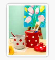 Red and White Polka-dot Still Life Sticker