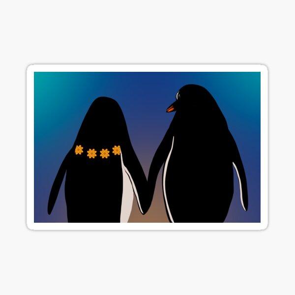 Cute Penguins holding hands watching Hawaiian sunset Sticker
