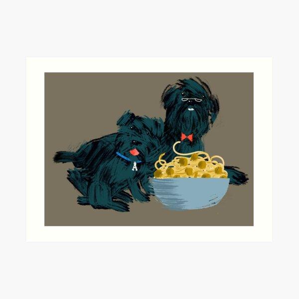 Schnauzer Giant Granpa and Puppy Meatballs Art Print