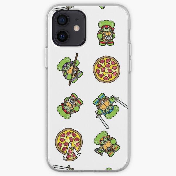 Pizza Loving Fighting Teddies - White Pattern iPhone Soft Case