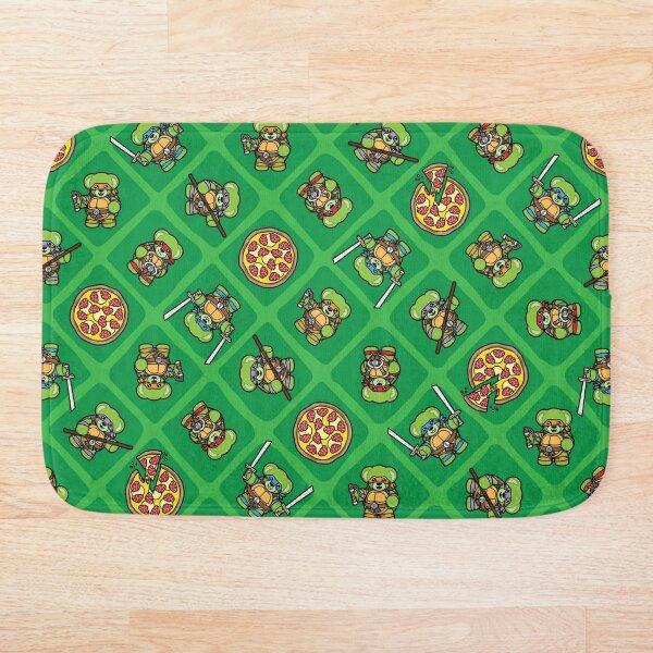 Pizza Loving Fighting Teddies - Green Pattern Bath Mat