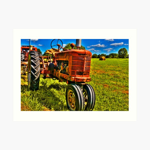 Farmall Tractor in Hayfield Art Print
