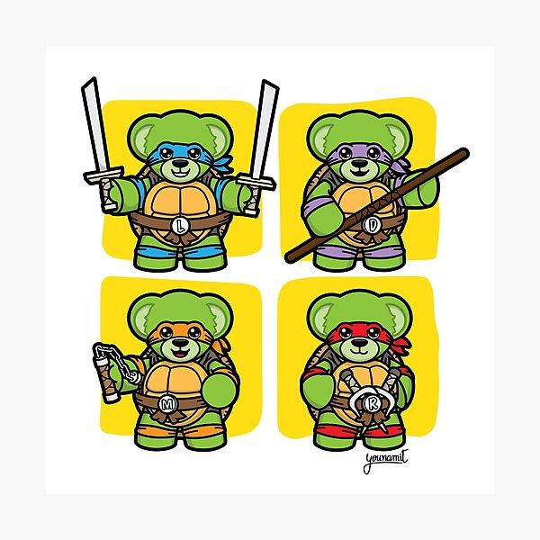 Pizza Loving Fighting Teddies - Yellow Squares Photographic Print