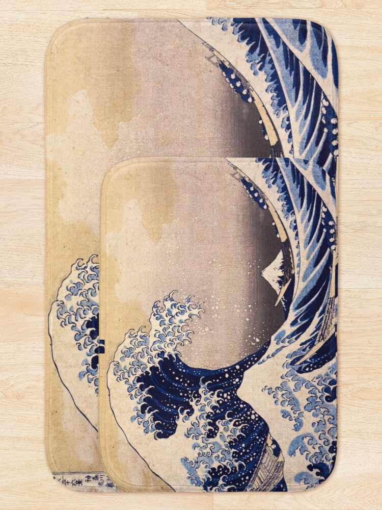 Alternate view of The Great Wave off Kanagawa by Katsushika Hokusai (c 1830-1833) Bath Mat