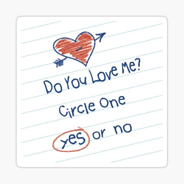 Flirty Grade School Do You Love Me Note Sticker
