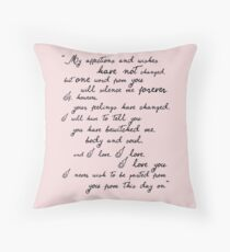 Pride and Prejudice, Darcy (black) Quote  Throw Pillow