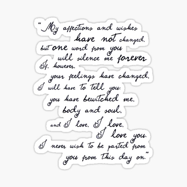 Pride and Prejudice, Darcy (black) Quote  Sticker
