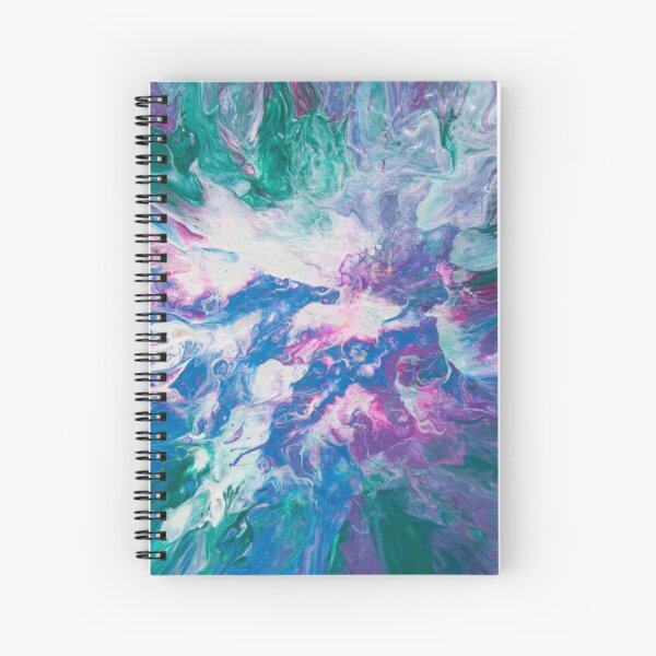 Dynamic Aqua Green, Blue and Purple Abstract Acrylic Art Spiral Notebook