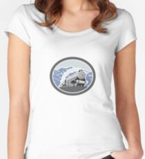 Steam Train Locomotive Mountains Retro Women's Fitted Scoop T-Shirt