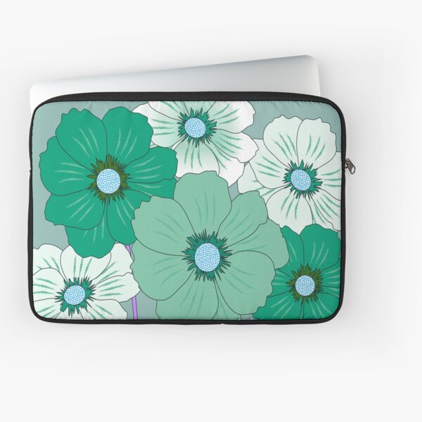 lovely green and white cosmos flowers Laptop Sleeve