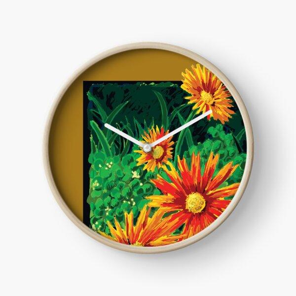 Red Field Flowers Clock