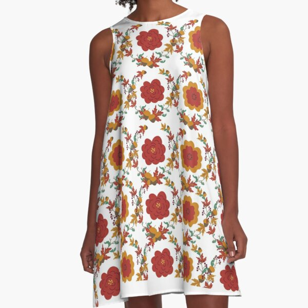 Cute Floral Fall Design T-shirts A-Line Dress