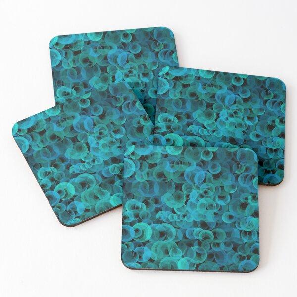 Disco Circles Blue Green Coasters (Set of 4)