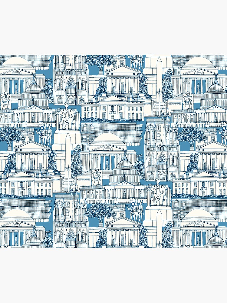 Washington DC toile blue by scrummy