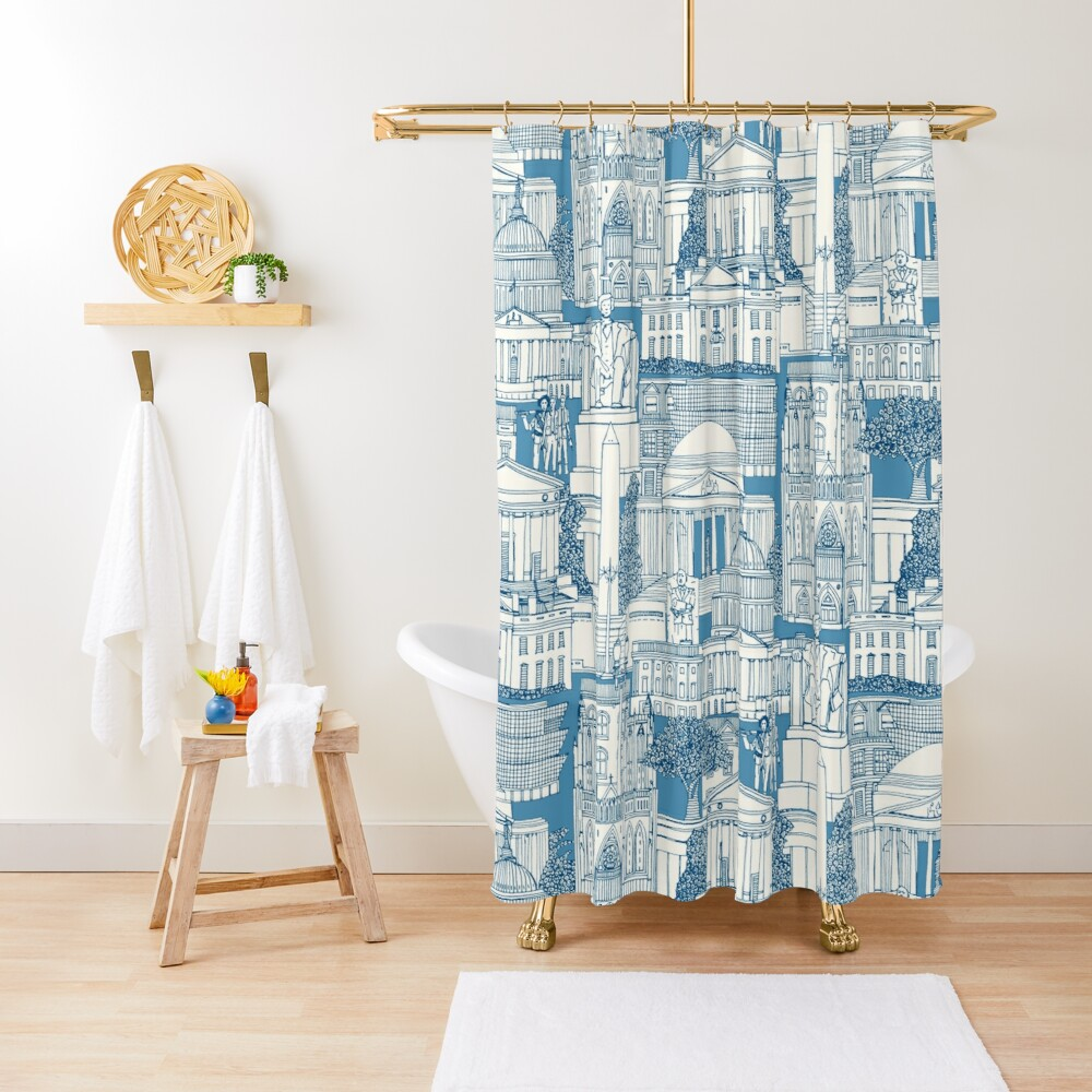 Washington DC toile blue Shower Curtain