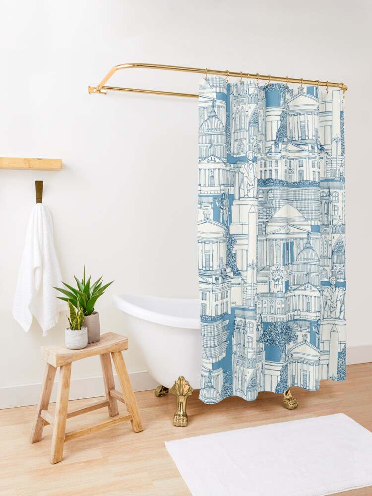 Alternate view of Washington DC toile blue Shower Curtain