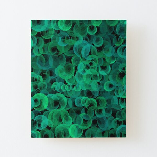 Disco Circles Green Wood Mounted Print