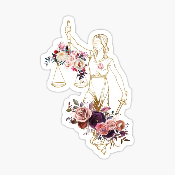 Lady Justice Floral Print Glossy Sticker