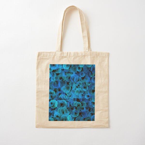 Disco Circles Blue Cotton Tote Bag