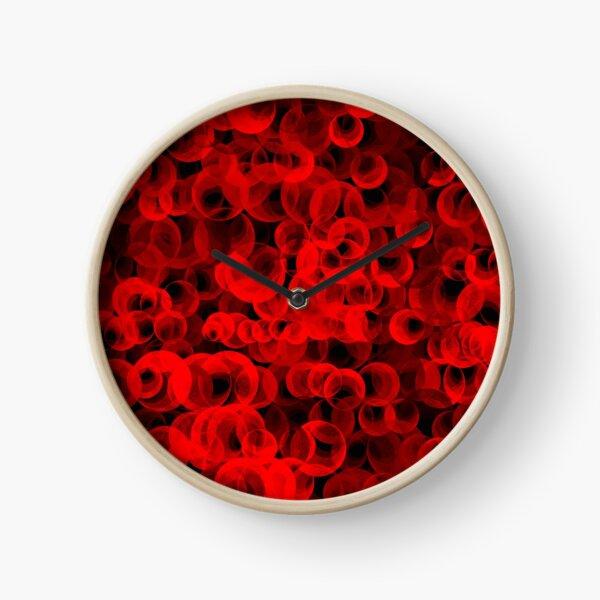 Disco Circles Red Clock