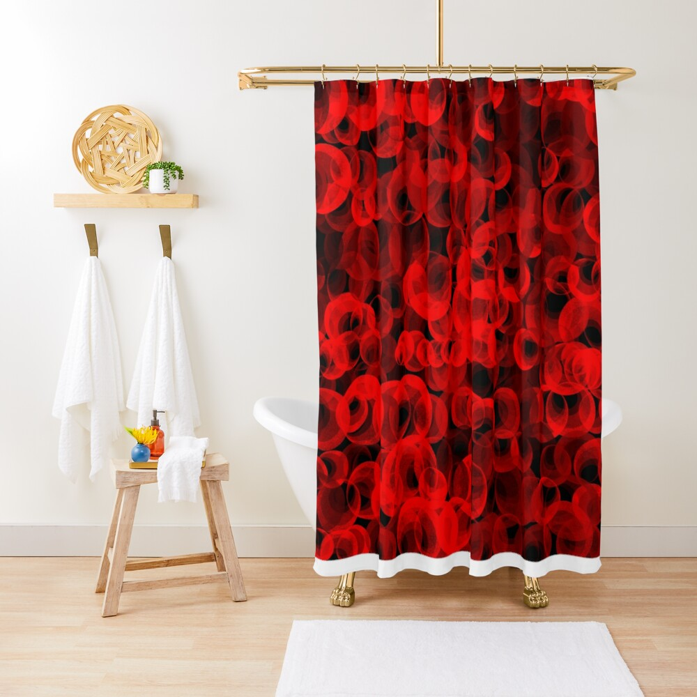 Disco Circles Red Shower Curtain