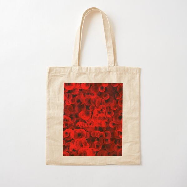 Disco Circles Red Cotton Tote Bag