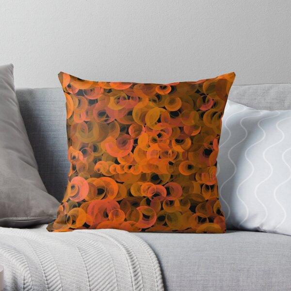 Disco Circles Orange Throw Pillow