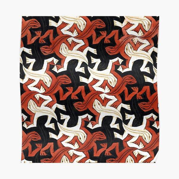 Escher lizard Poster